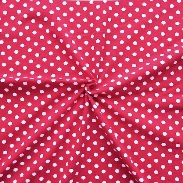 "Baumwoll Stretch Jersey ""Classic Dots"" Farbe Rot"