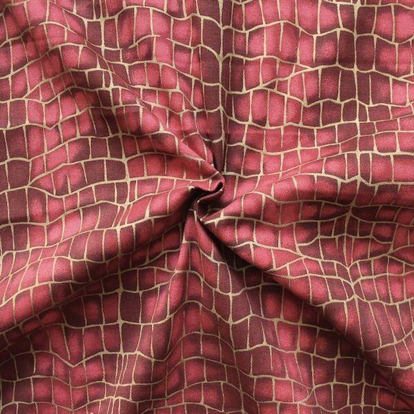 "Stretch Baumwollstoff ""Grid Look"" Artikel Glamour Farbe Rot-Gold"