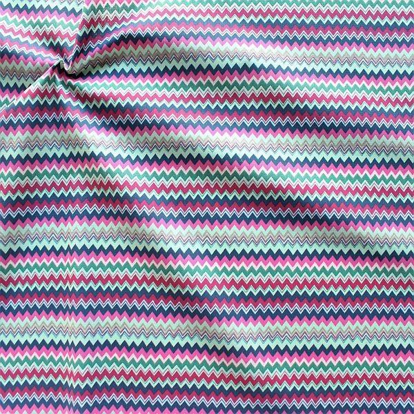 Baumwollstoff Zick Zack Streifen Fuchsia-Multicolor
