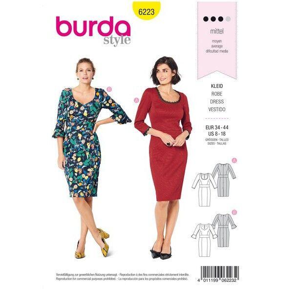 Kleid mit Taillenblende – zweierlei Ausschnitt, Gr. 34 - 44, Schnittmuster Burda 6223