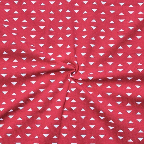 Baumwoll Stretch Jersey Dreiecke klein Rot