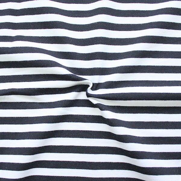 Sweatshirt Baumwollstoff French Terry Classic Stripes Weiss Dunkel-Blau
