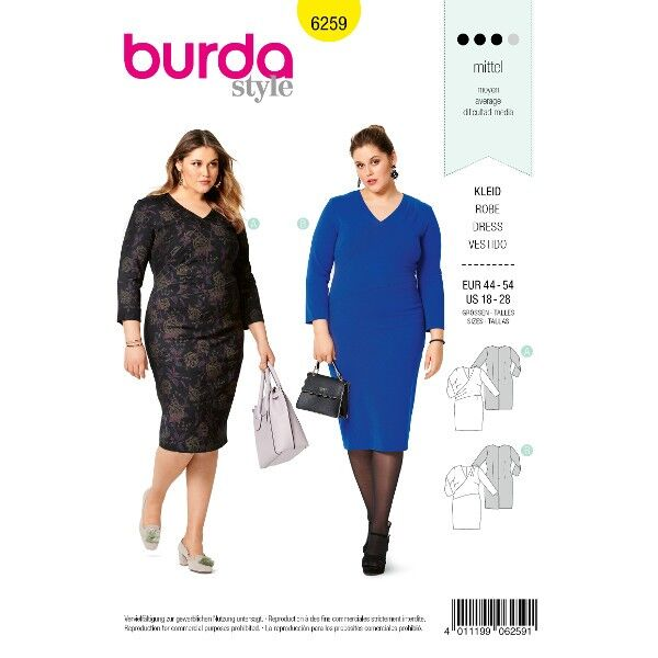 Kleid – asymmetrisch – Wickeloptik, Grösse: 44 - 54, Schnittmuster Burda 6259