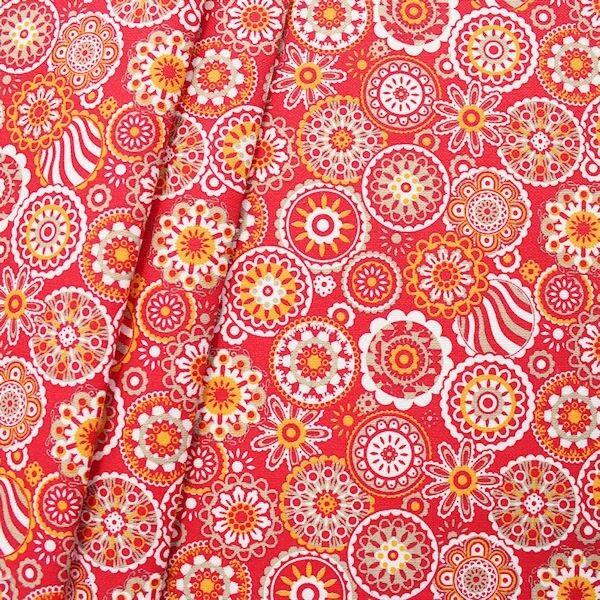 Dekostoff Blumen Mandala Rot