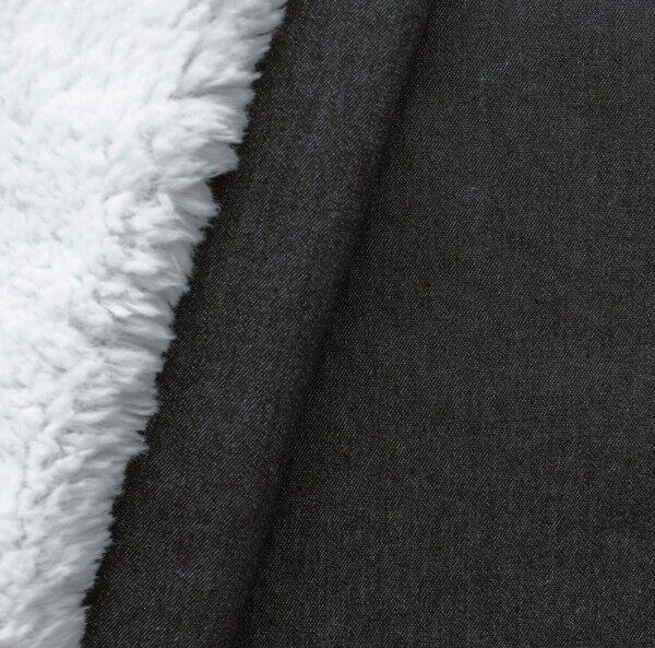 Jeansstoff Teddyplüsch Farbe Schwarz