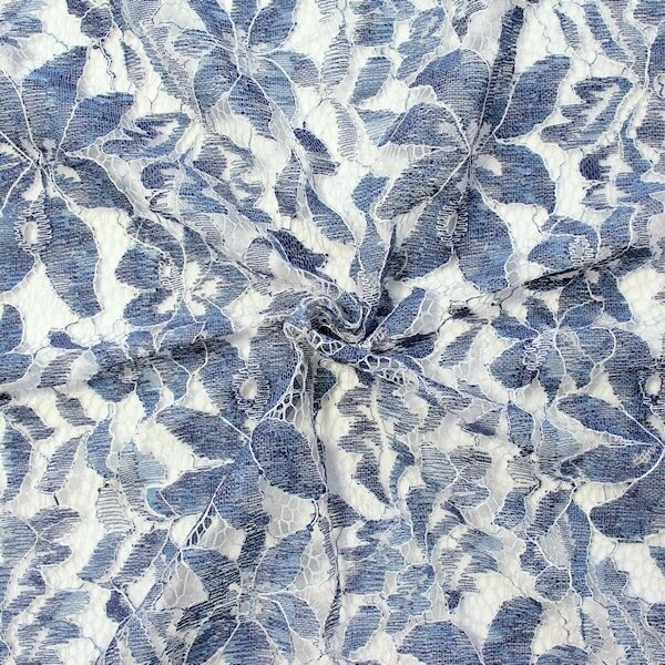 "Spitzenstoff ""Classic Flower 3"" Farbe Blau"