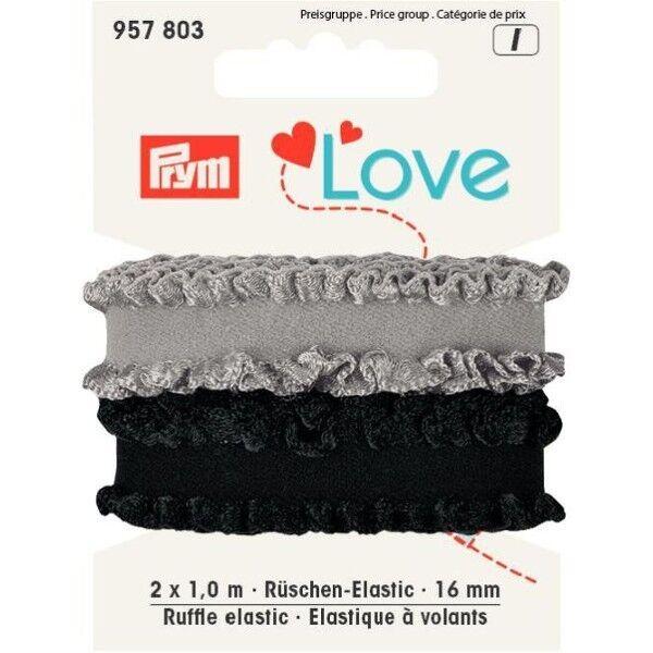Prym Love 2 x 1m Rüschen-Elastic 16mm breit schwarz, grau
