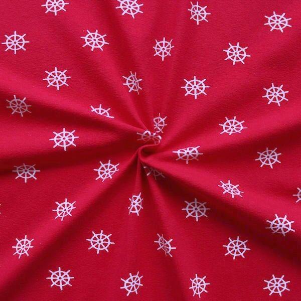 "Baumwoll Stretch Jersey ""Steuerrad"" Farbe Rot"