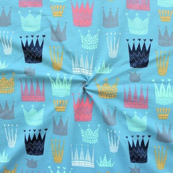 Baumwoll Stretch Jersey Kronen Mix Blau-Grau