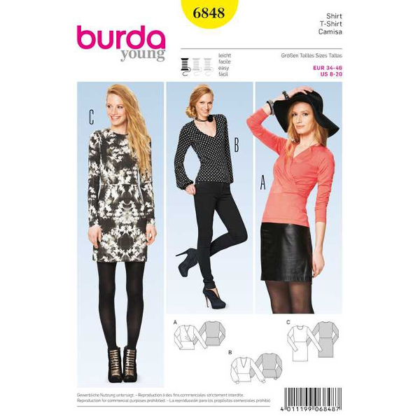 Shirt – Kleid – figurbetont, Gr. 34 - 46, Schnittmuster Burda 6848