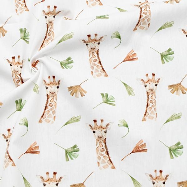 100% Baumwolle Popeline Giraffen & Blätter Farbe Weiss