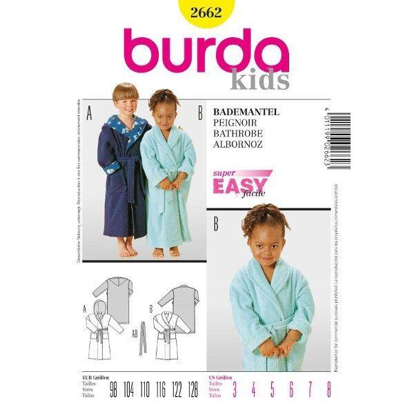 Kinder-Bademantel, Gr. 98 - 128, Schnittmuster Burda 2662 | Kinder ...