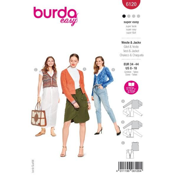 Weste und Jacken mit und ohne Bindebänder, Gr. 34 - 44 Schnittmuster Burda 6120