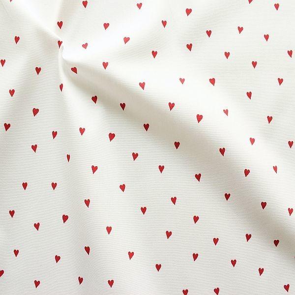 Baumwolle Popeline Little Hearts Weiss-Rot