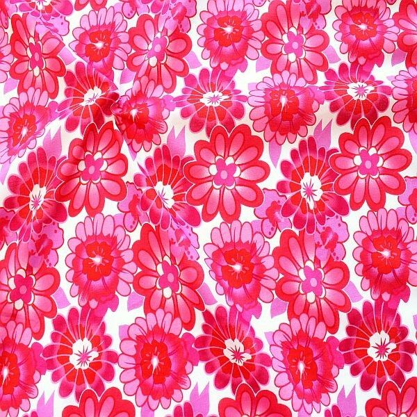 Baumwolle Musselin Pink Blossom Weiss-Pink