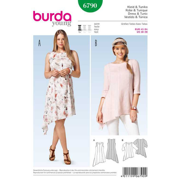Kleid – Tunika – schräger Saum, Gr. 42 - 54, Schnittmuster Burda ...