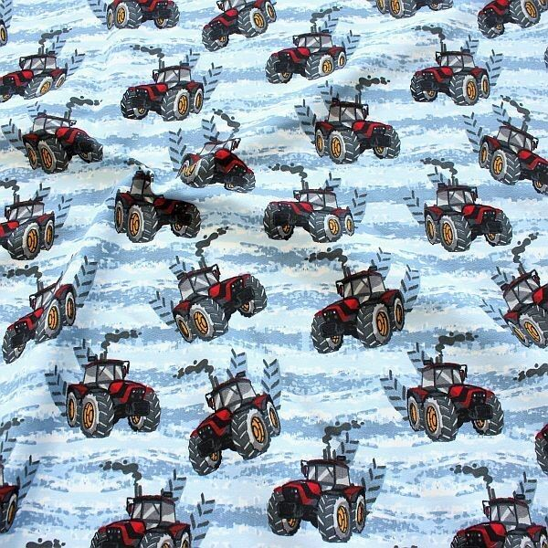 "Sweatshirt Baumwollstoff French Terry ""Cool Tractors"" Farbe Blau-Rot"