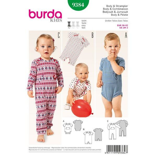 Burda 9384 Schnitt für Body und Strampler in drei Varianten