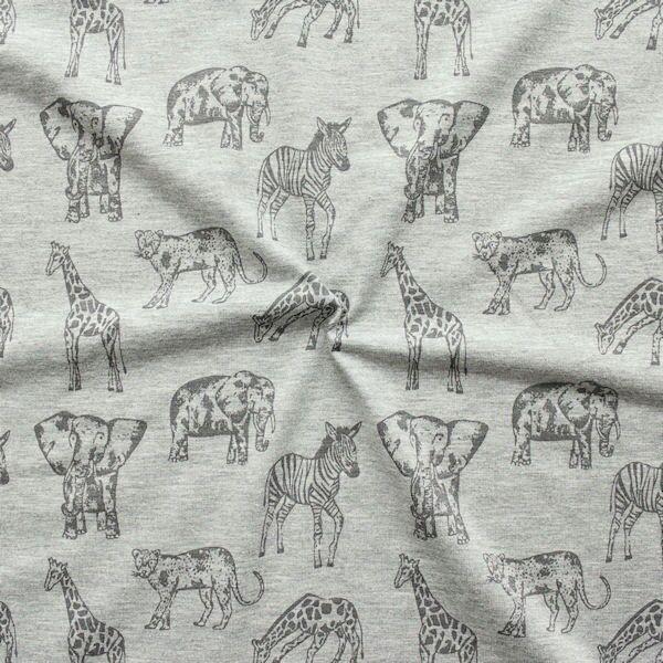 """Baumwoll Stretch Jersey """"'Elefant & Co"""" Farbe Grau meliert"""