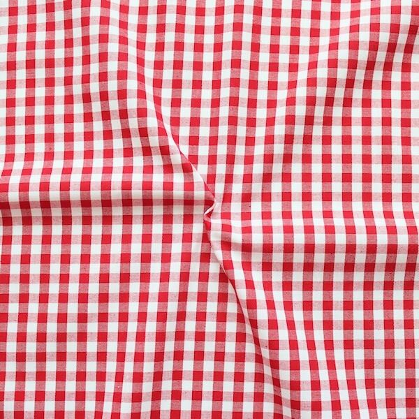 """Baumwollstoff Hemden Qualität Vichy """"Karo mittel"""" Farbe Rot-Weiss"""