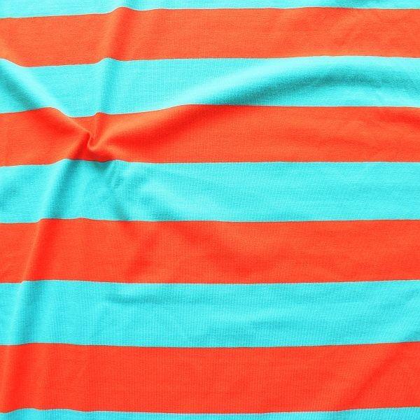 Baumwoll Stretch Jersey Blockstreifen Duo Orange-Blau