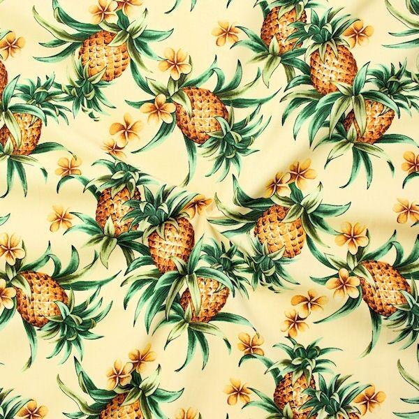 "100% Baumwolle Popeline ""Ananas"" Farbe Beige"