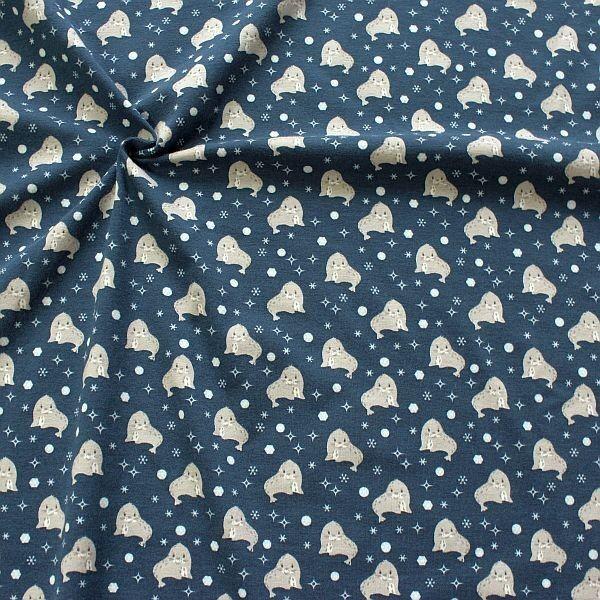 Baumwoll Stretch Jersey Robben & Sterne Dunkel-Blau