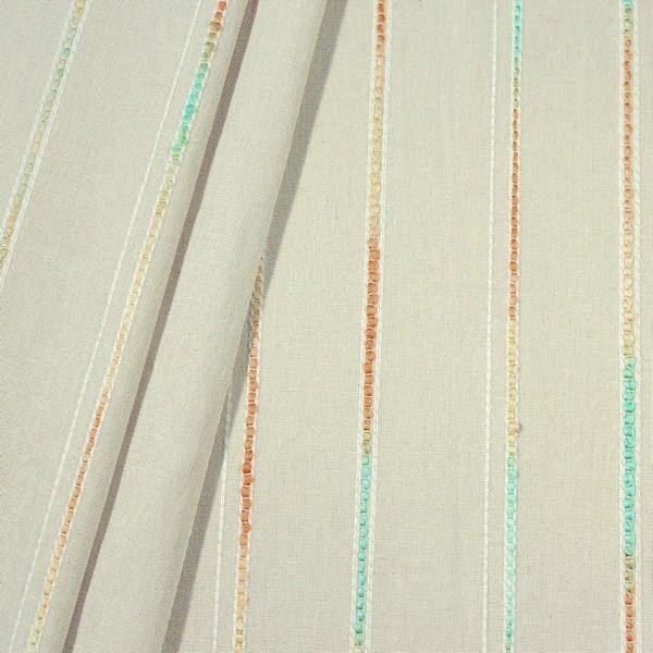 Beigefarbener Leinen mit bunten 'Webstreifen'
