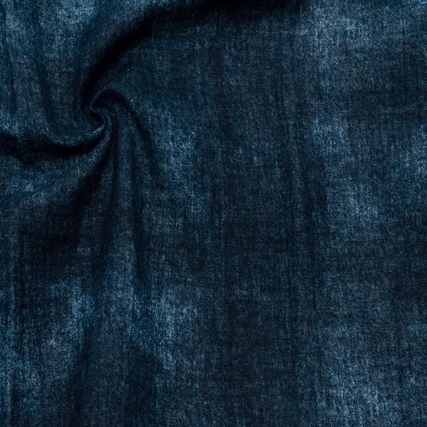 100% Baumwolle Musselin Double Gauze Jeans Optik Dunkel-Blau