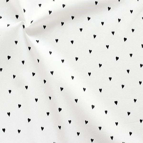 Baumwolle Popeline Little Hearts Weiss
