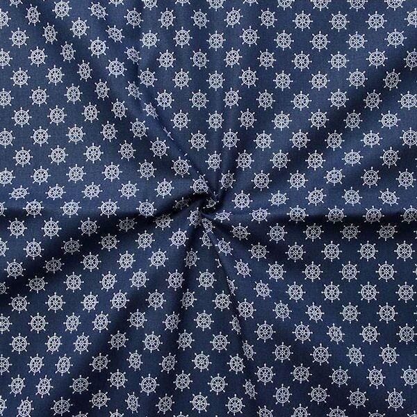 """100% Baumwollstoff """"Steuerrad klein"""" Farbe Navy-Blau Weiss"""