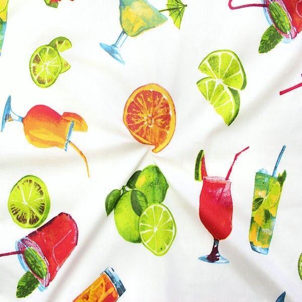 """100% Baumwolle Dekostoff """"Cocktails"""" Farbe Weiss"""