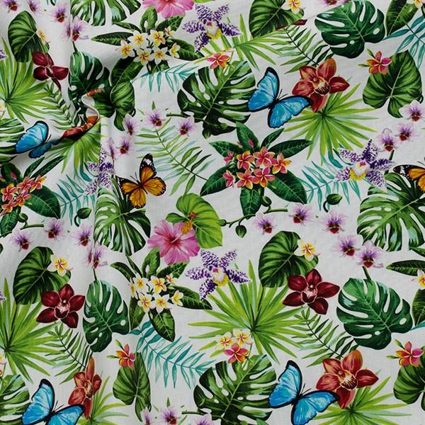 Baumwollstoff Popeline Digital Druck Schmetterlingsgarten Weiss