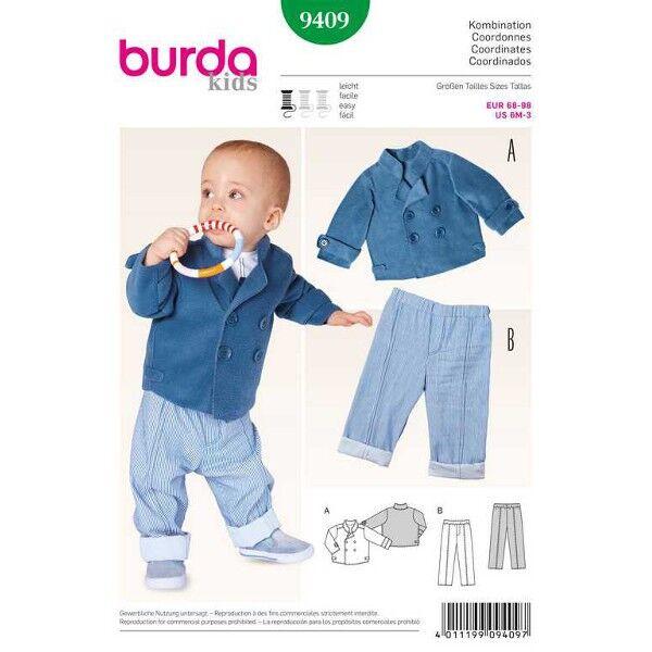 Burda 9409 Schnittmuster für Kombination für Jungen Jacke und Gummizughose