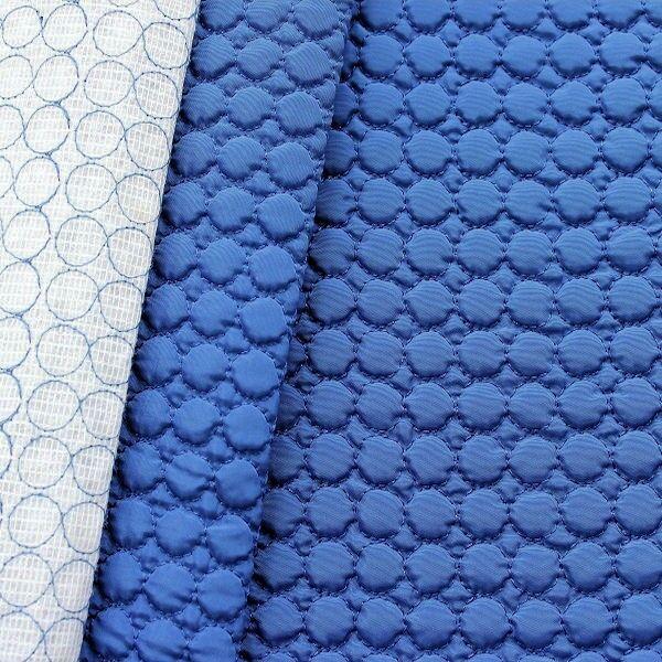 Steppstoff wattiert Kreise klein Royal-Blau