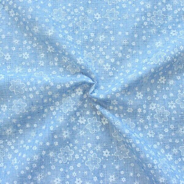 "Baumwollstoff Ajour Dobby ""Petit Fleurs 2"" Farbe Hell-Blau"
