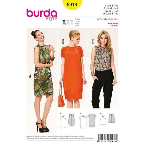 Kleid – Top – Fältchen am Ausschnitt, Gr. 34 - 46, Schnittmuster Burda 6914
