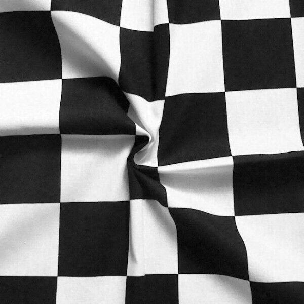 """100% Baumwollstoff """"Start-Ziel Flagge"""" Farbe Schwarz-Weiss"""