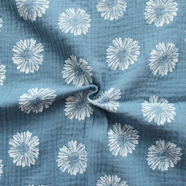 """100% Baumwolle Musselin Double Gauze """"Blüten"""" Farbe Tauben-Blau"""
