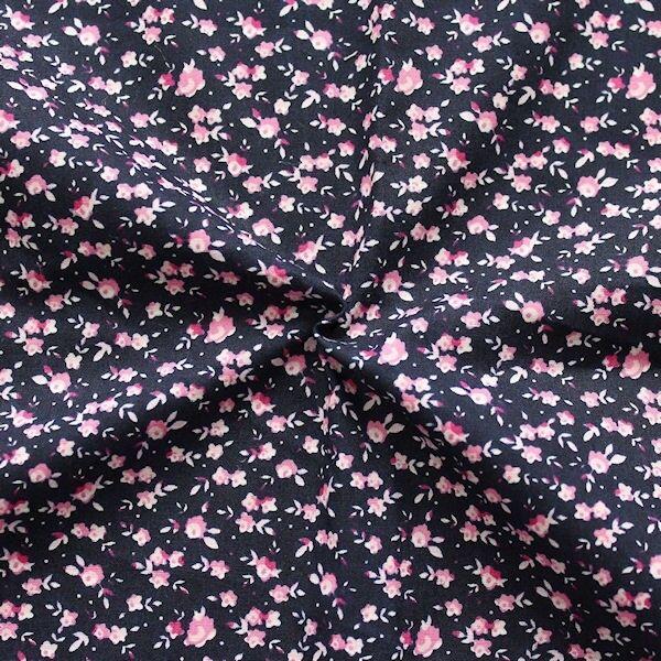 """100% Baumwolle Popeline """"Millefleurs 10"""" Farbe Dunkel-Blau Rosa"""