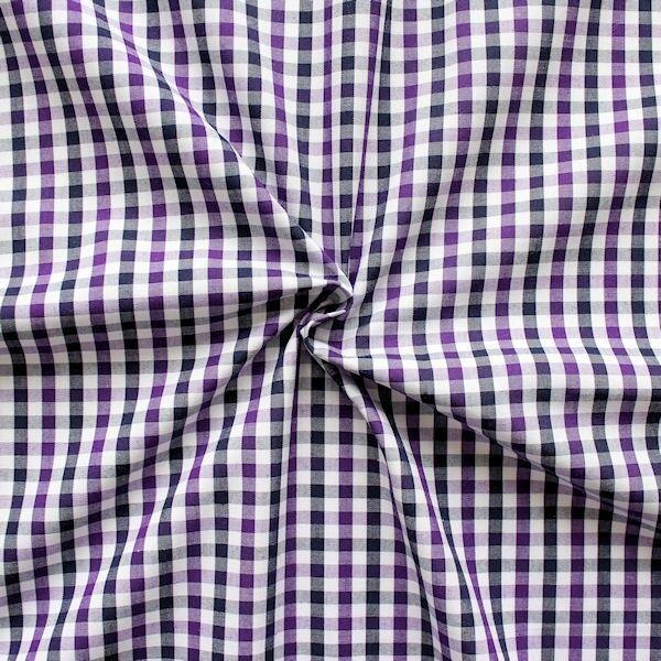 """Baumwollstoff Hemden Qualität """"Fashion Karo"""" Farbe Lila-Weiss-Blau"""