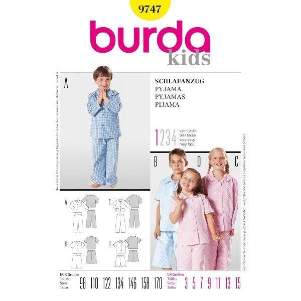 Kinder - Schlafanzug, Gr. 98 - 170, Schnittmuster Burda 9747