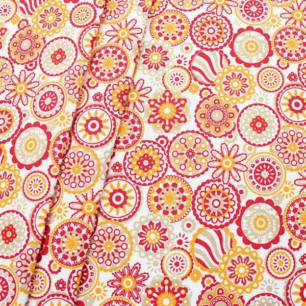"Dekostoff ""Blumen Mandala"" Farbe Weiss-Rot"