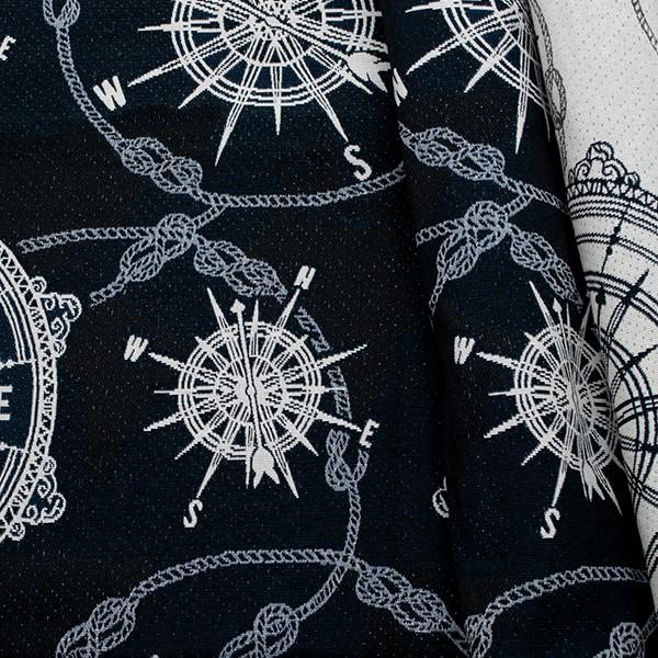 Jacquard Dekostoff Doubleface Kompass & Seile Navy-Blau Ecru