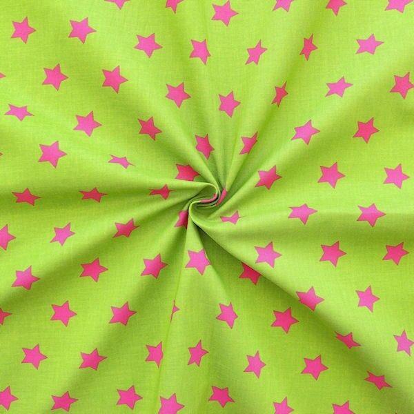 """100% Baumwollstoff """"Sterne Groß"""" Farbe Grün-Pink"""