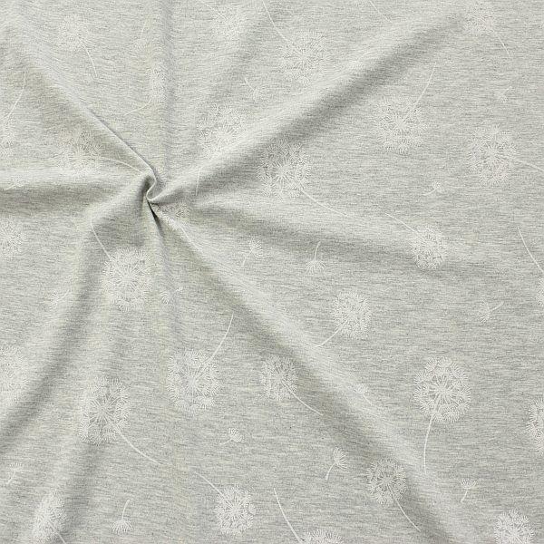 Baumwoll Stretch Jersey Pusteblumen Hell-Grau meliert