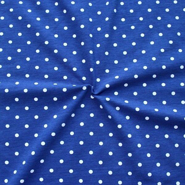 "Baumwoll Stretch Jersey ""Classic Dots 2"" Farbe Royal-Blau Weiss"