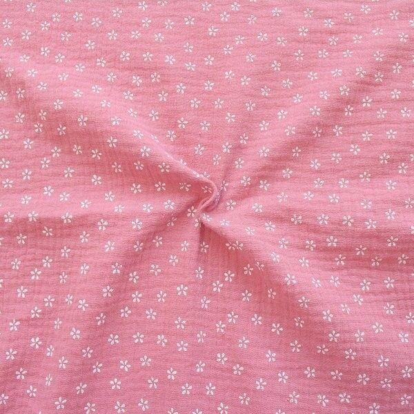 """100% Baumwolle Musselin Double Gauze """"Kleine Blüten"""" Farbe Rosa"""