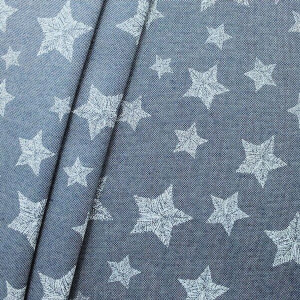"1,40 Meter Dekostoff ""Stitched Stars"" Farbe Jeans-Blau"