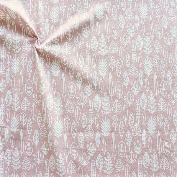 Baumwoll Stretch Jersey Blätter-Mix Rosa